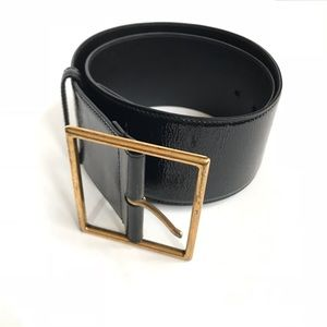 YSL Yves Saint Laurent Wide leather patent belt